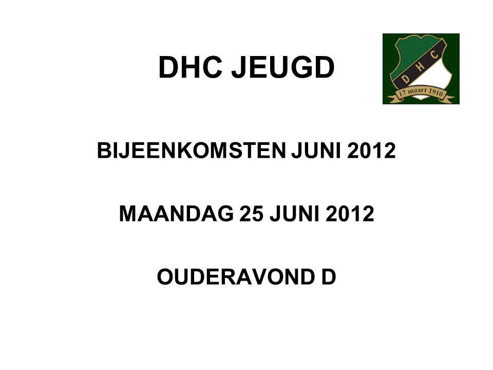 DHC JEUGD BIJEENKOMSTEN JUNI 2012 MAANDAG 25 JUNI 2012 OUDERAVOND D