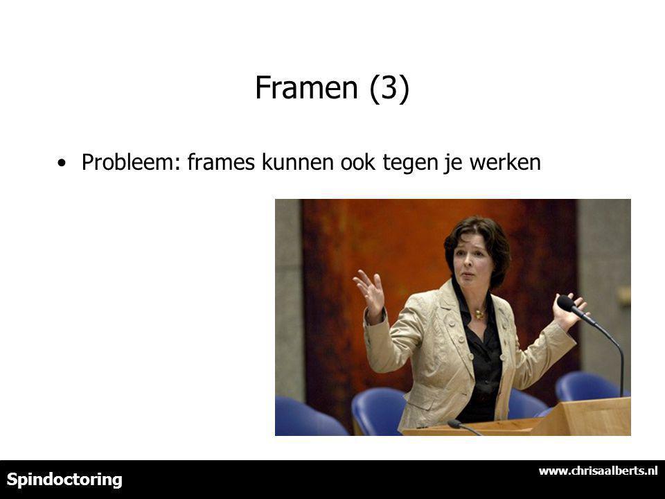 Framen (3) Probleem: frames kunnen ook tegen je werken www.chrisaalberts.nl Spindoctoring