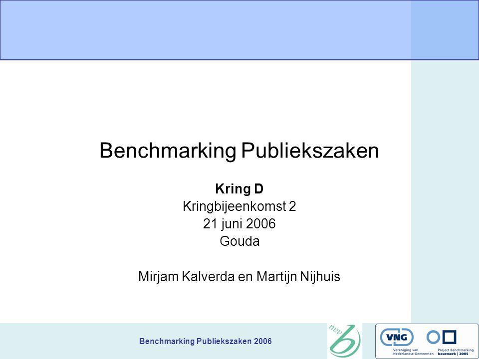 Benchmarking Publiekszaken 2006 Vervolgafspraken Acties: Gegevens aanpassen tot 7 juli Volgende bijeenkomst: 6 september in Assen Start 10.00.