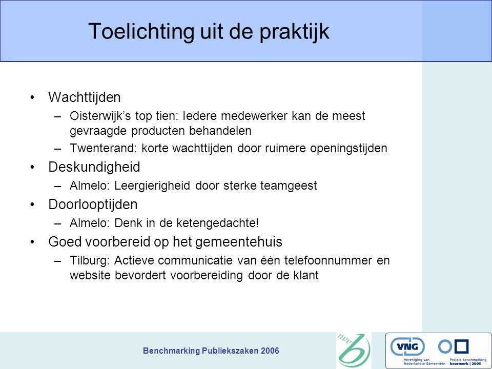 Benchmarking Publiekszaken 2006 Toelichting uit de praktijk Wachttijden –Oisterwijk's top tien: Iedere medewerker kan de meest gevraagde producten beh