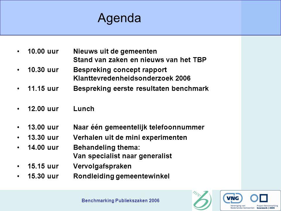 Benchmarking Publiekszaken 2006 Agenda 10.00 uurNieuws uit de gemeenten Stand van zaken en nieuws van het TBP 10.30 uurBespreking concept rapport Klan