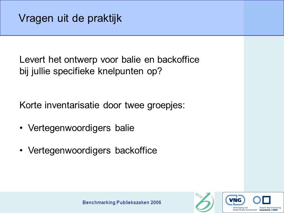 Benchmarking Publiekszaken 2006 Vragen uit de praktijk Levert het ontwerp voor balie en backoffice bij jullie specifieke knelpunten op? Korte inventar