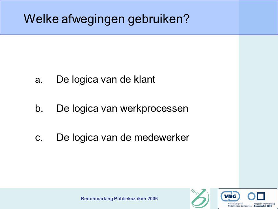 Benchmarking Publiekszaken 2006 Welke afwegingen gebruiken? a. De logica van de klant b. De logica van werkprocessen c. De logica van de medewerker