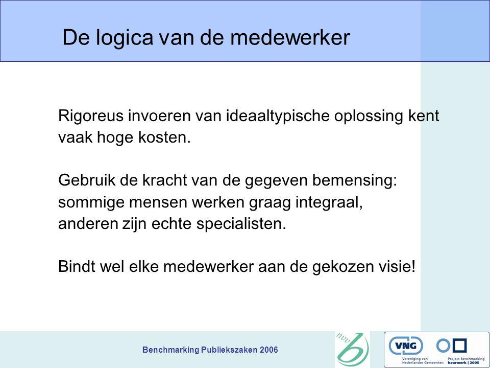 Benchmarking Publiekszaken 2006 De logica van de medewerker Rigoreus invoeren van ideaaltypische oplossing kent vaak hoge kosten. Gebruik de kracht va