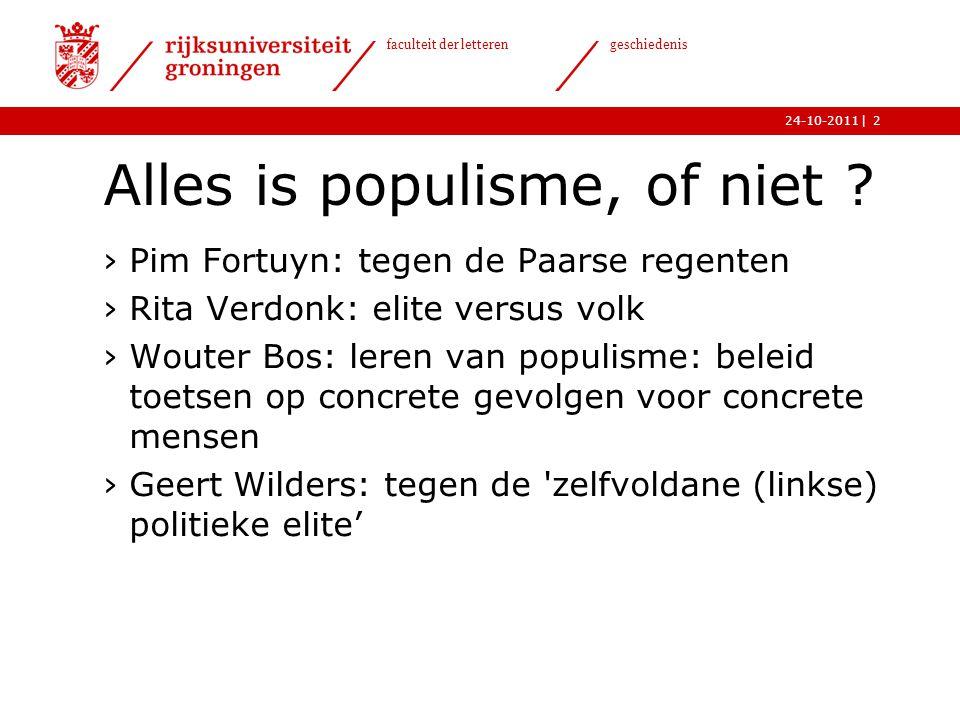   faculteit der letteren geschiedenis 24-10-201123 Populisme anno nu.