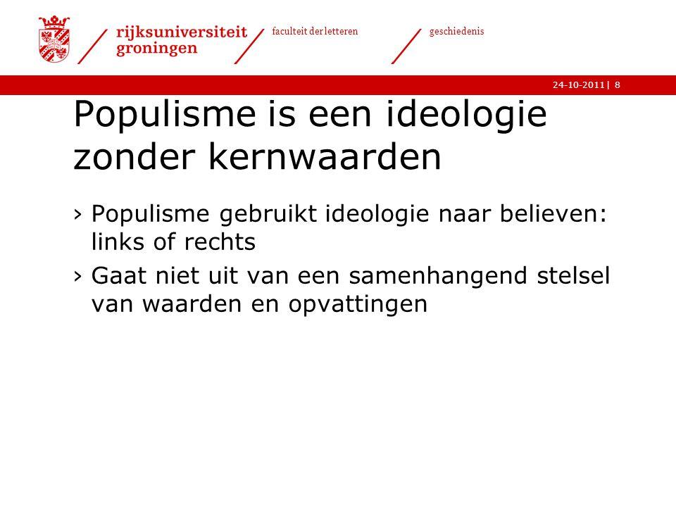   faculteit der letteren geschiedenis 24-10-20119 Populisme is een krachtige reactie op crisisstemming ›Reële of imaginaire crisis ›Gevoel van grote onzekerheid in een overgangstijdperk
