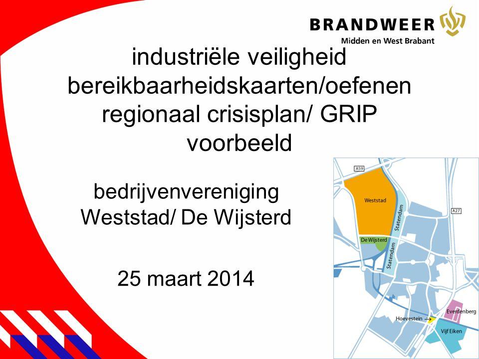 industriële veiligheid bereikbaarheidskaarten/oefenen regionaal crisisplan/ GRIP voorbeeld bedrijvenvereniging Weststad/ De Wijsterd 25 maart 2014 1