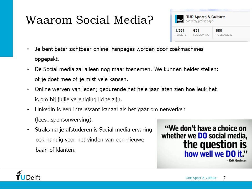 7 Unit Sport & Cultuur Waarom Social Media? Je bent beter zichtbaar online. Fanpages worden door zoekmachines opgepakt. De Social media zal alleen nog