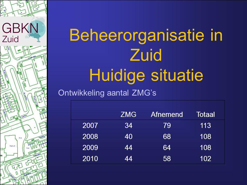 Beheerorganisatie in Zuid Huidige situatie Ontwikkeling aantal ZMG's ZMGAfnemendTotaal 20073479113 20084068108 20094464108 20104458102