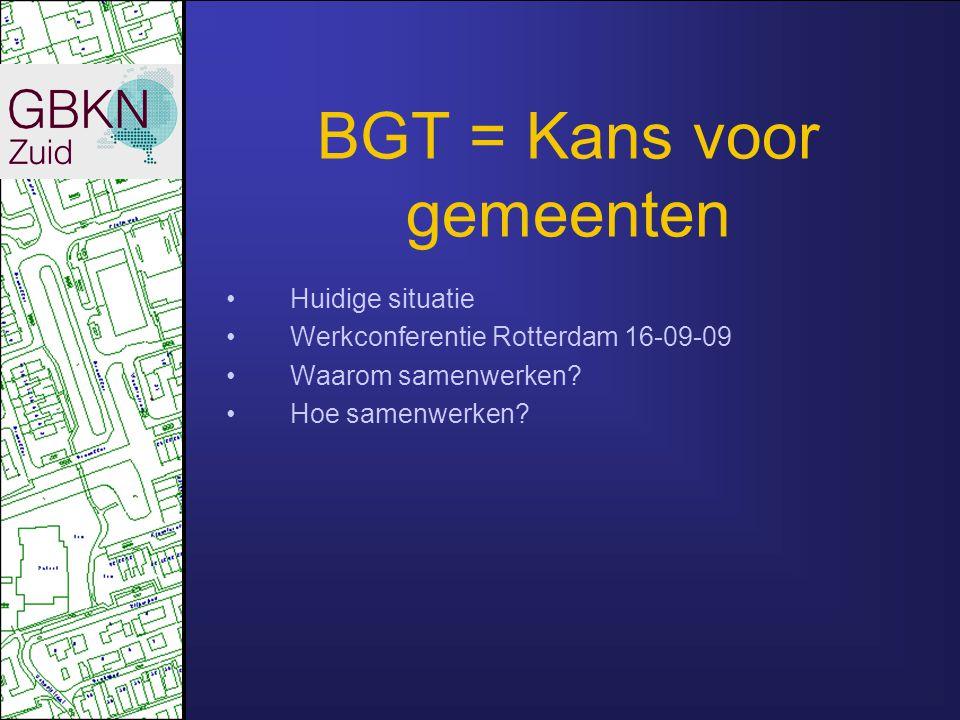 BGT = Kans voor gemeenten Huidige situatie Werkconferentie Rotterdam 16-09-09 Waarom samenwerken? Hoe samenwerken?