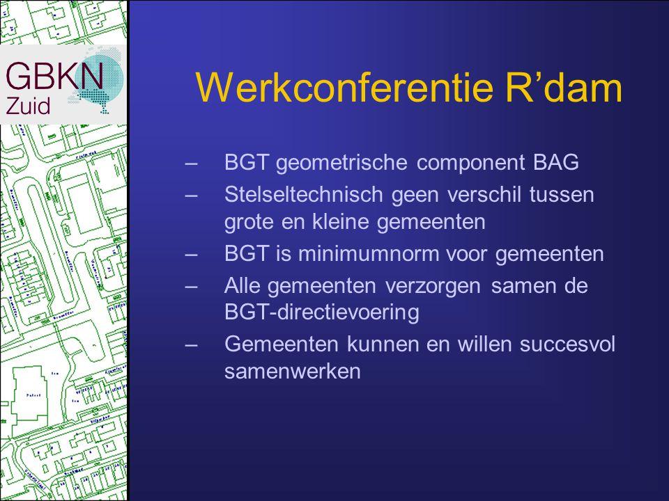 Werkconferentie R'dam –BGT geometrische component BAG –Stelseltechnisch geen verschil tussen grote en kleine gemeenten –BGT is minimumnorm voor gemeenten –Alle gemeenten verzorgen samen de BGT-directievoering –Gemeenten kunnen en willen succesvol samenwerken