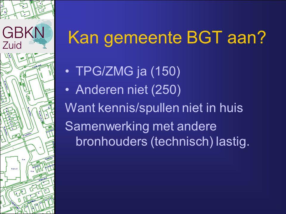 Kan gemeente BGT aan? TPG/ZMG ja (150) Anderen niet (250) Want kennis/spullen niet in huis Samenwerking met andere bronhouders (technisch) lastig.