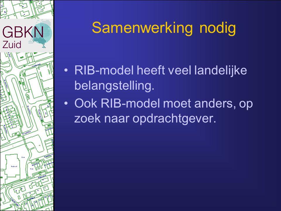 Samenwerking nodig RIB-model heeft veel landelijke belangstelling. Ook RIB-model moet anders, op zoek naar opdrachtgever.