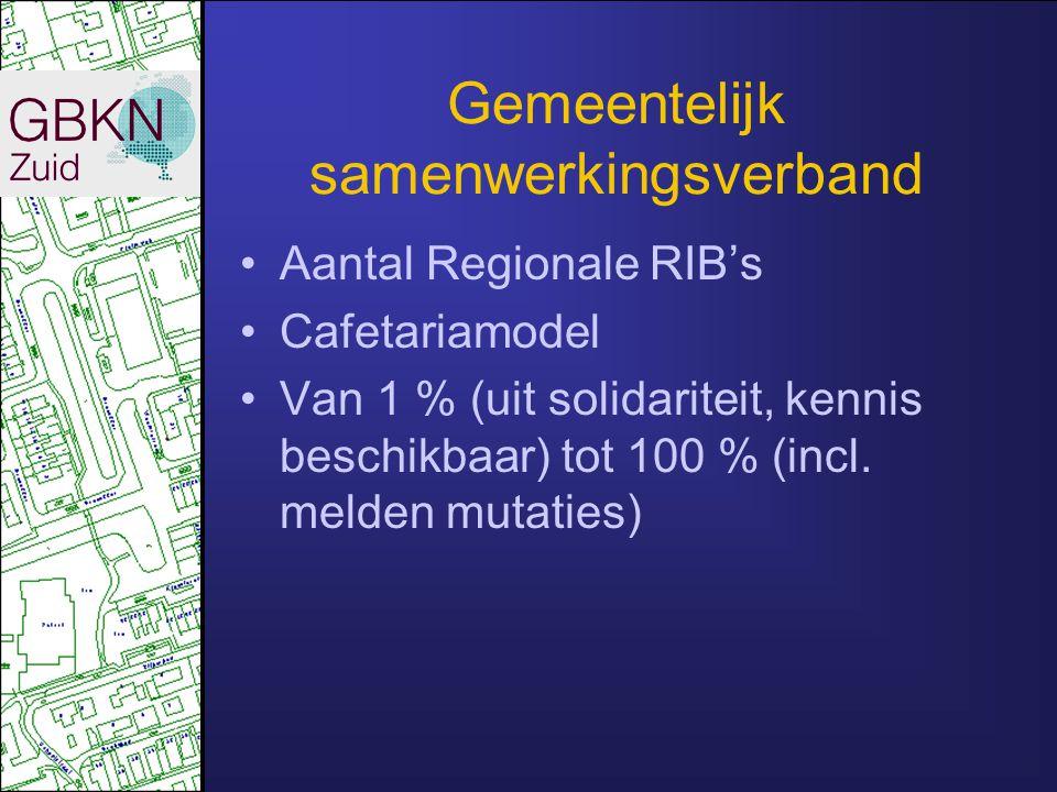 Gemeentelijk samenwerkingsverband Aantal Regionale RIB's Cafetariamodel Van 1 % (uit solidariteit, kennis beschikbaar) tot 100 % (incl. melden mutatie