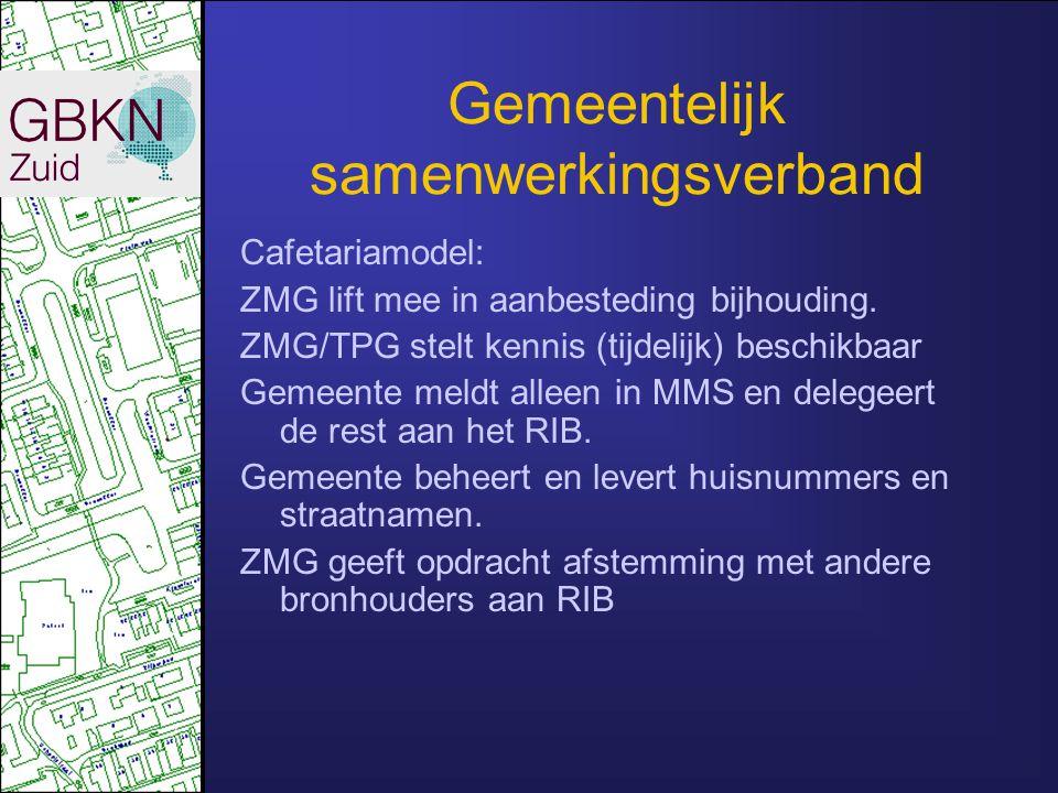 Gemeentelijk samenwerkingsverband Cafetariamodel: ZMG lift mee in aanbesteding bijhouding. ZMG/TPG stelt kennis (tijdelijk) beschikbaar Gemeente meldt