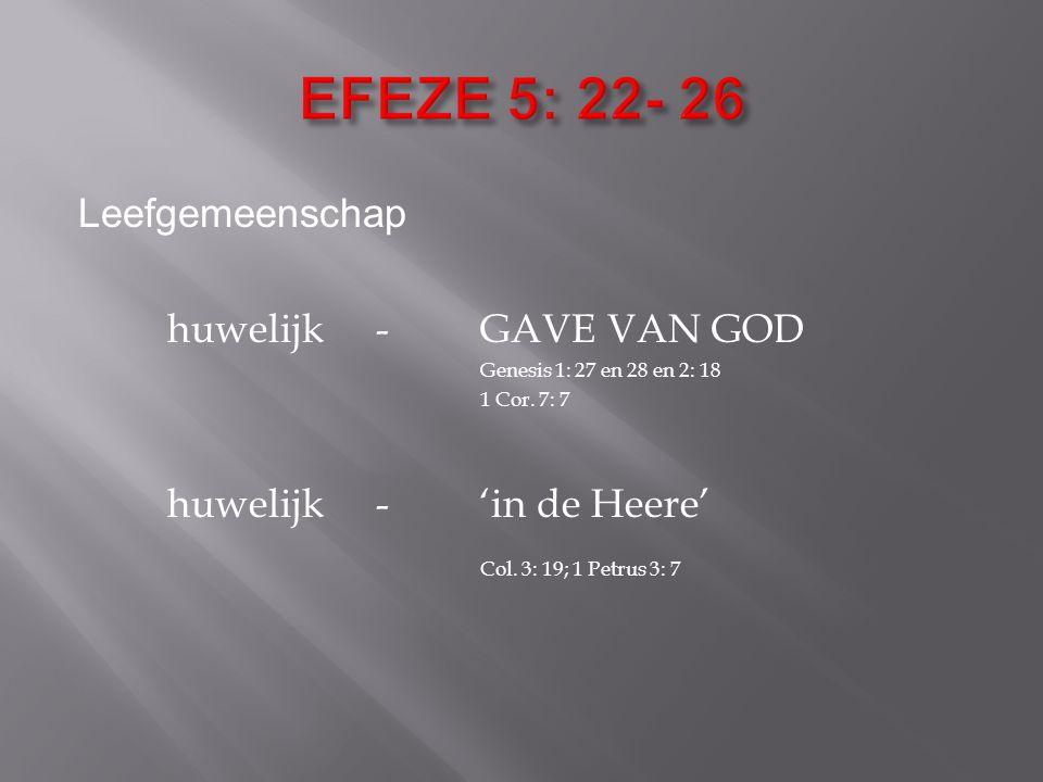 Leefgemeenschap huwelijk- GAVE VAN GOD Genesis 1: 27 en 28 en 2: 18 1 Cor.
