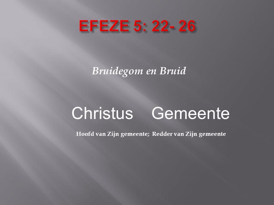 Bruidegom en Bruid Christus Gemeente Hoofd van Zijn gemeente; Redder van Zijn gemeente