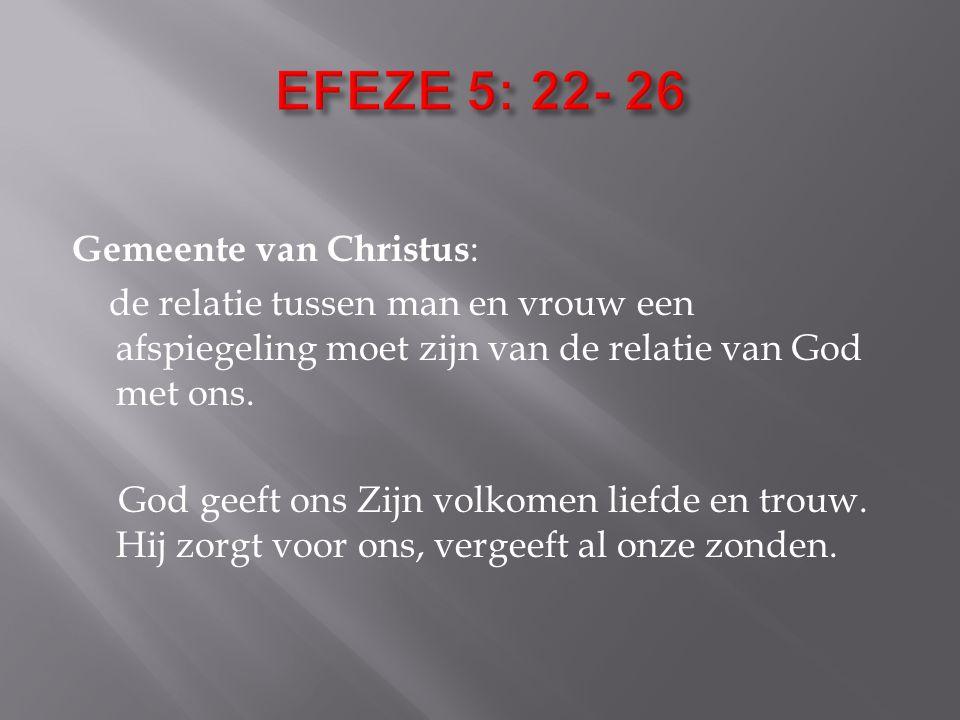 Gemeente van Christus : de relatie tussen man en vrouw een afspiegeling moet zijn van de relatie van God met ons.