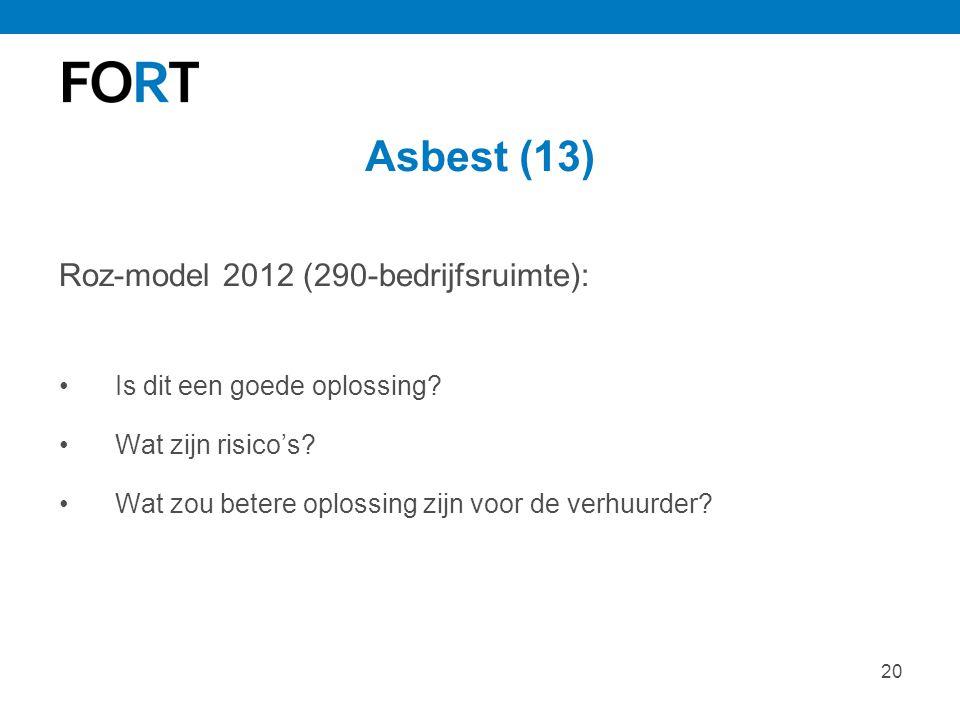20 Asbest (13) Roz-model 2012 (290-bedrijfsruimte): Is dit een goede oplossing? Wat zijn risico's? Wat zou betere oplossing zijn voor de verhuurder?