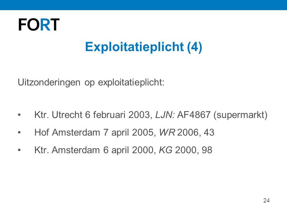24 Exploitatieplicht (4) Uitzonderingen op exploitatieplicht: Ktr. Utrecht 6 februari 2003, LJN: AF4867 (supermarkt) Hof Amsterdam 7 april 2005, WR 20