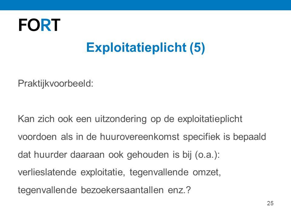 25 Exploitatieplicht (5) Praktijkvoorbeeld: Kan zich ook een uitzondering op de exploitatieplicht voordoen als in de huurovereenkomst specifiek is bep