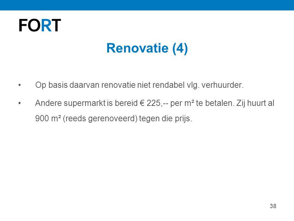 38 Renovatie (4) Op basis daarvan renovatie niet rendabel vlg. verhuurder. Andere supermarkt is bereid € 225,-- per m² te betalen. Zij huurt al 900 m²