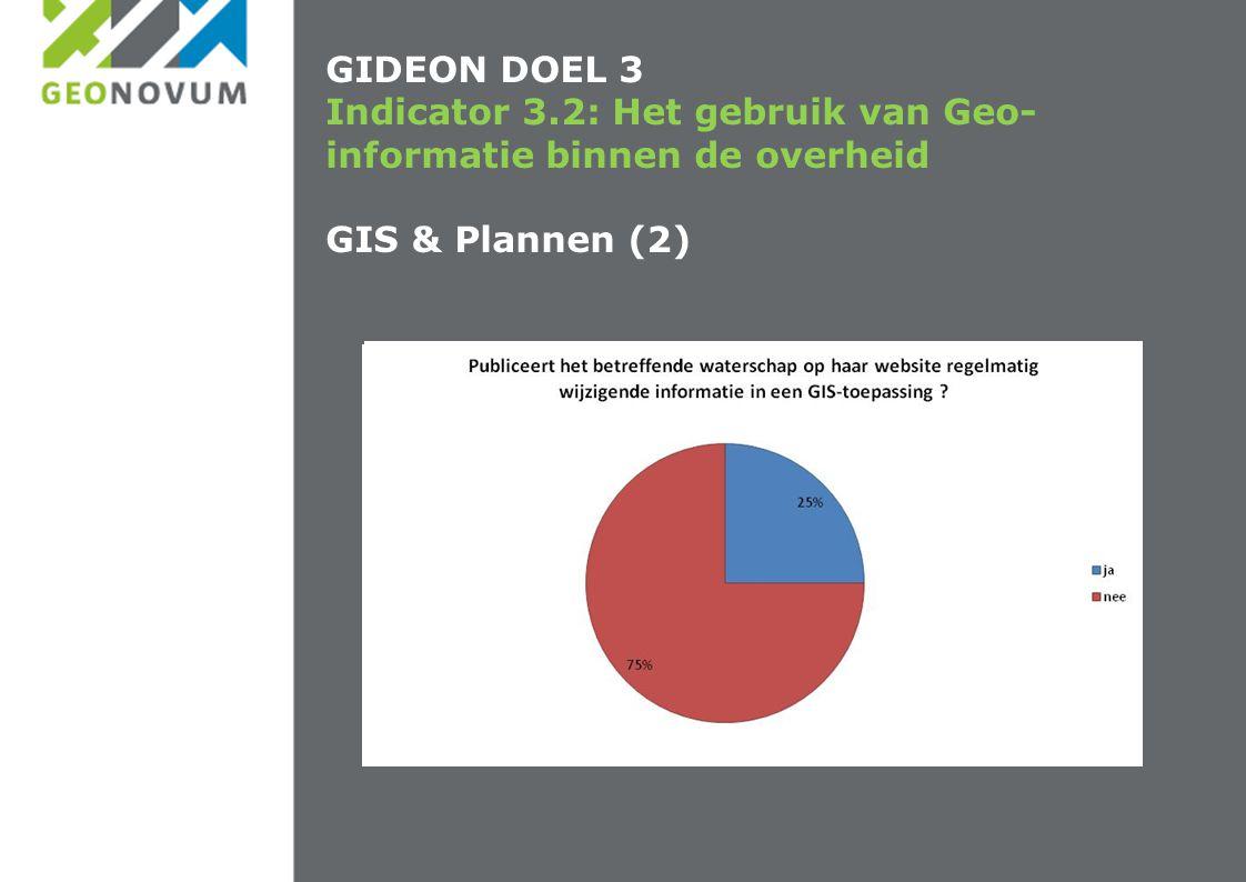 GIDEON DOEL 3 Indicator 3.2: Het gebruik van Geo- informatie binnen de overheid GIS & Plannen (2)