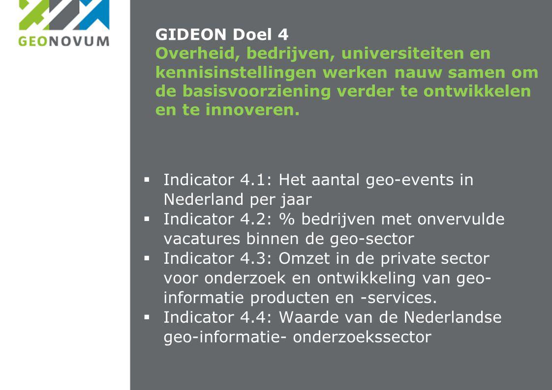 GIDEON Doel 4 Overheid, bedrijven, universiteiten en kennisinstellingen werken nauw samen om de basisvoorziening verder te ontwikkelen en te innoveren