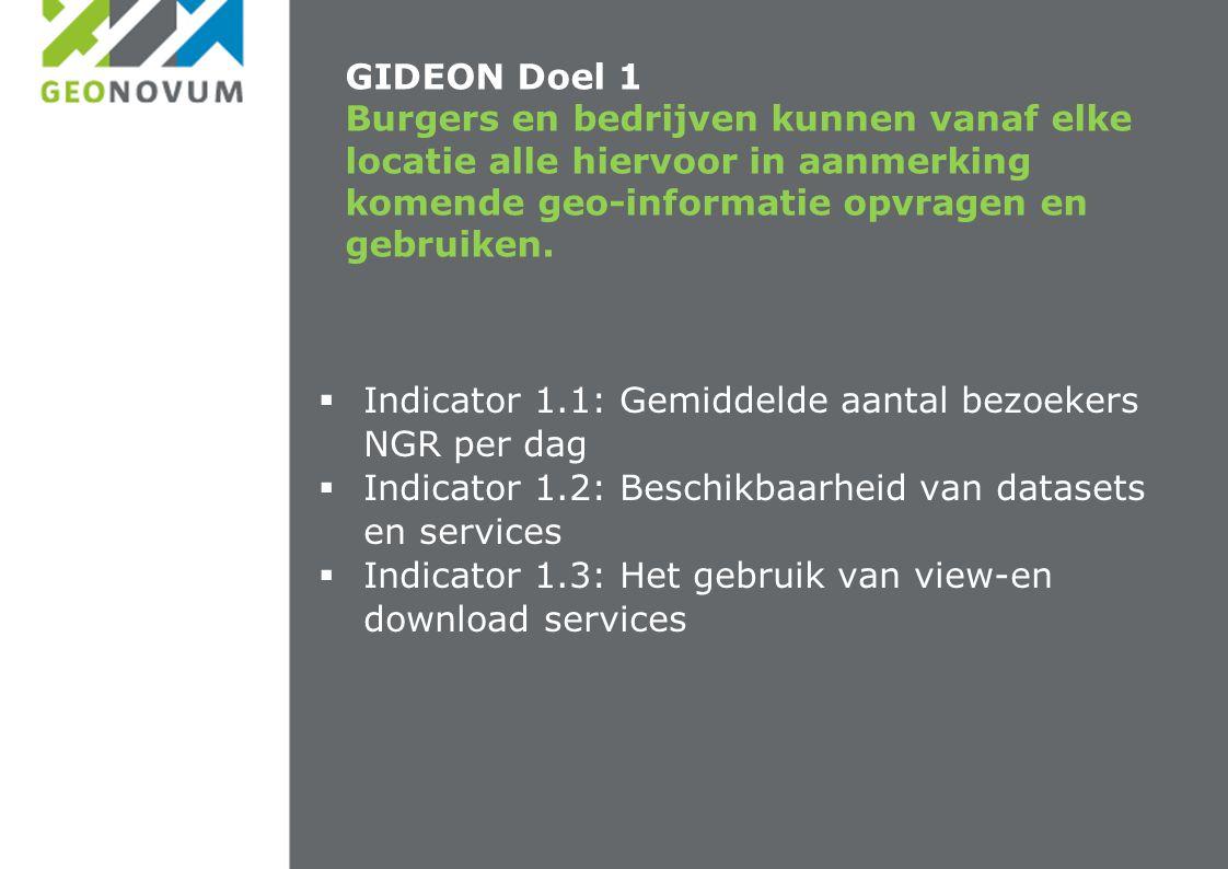 GIDEON Doel 1 Burgers en bedrijven kunnen vanaf elke locatie alle hiervoor in aanmerking komende geo-informatie opvragen en gebruiken.  Indicator 1.1