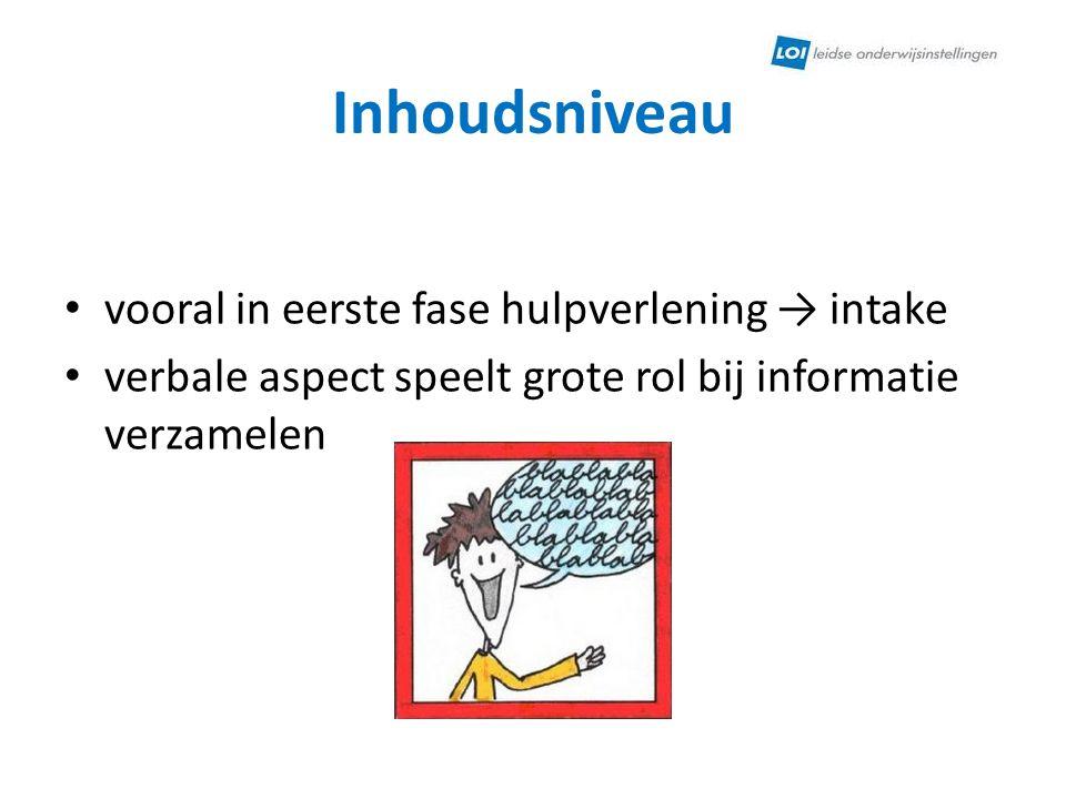 Inhoudsniveau vooral in eerste fase hulpverlening → intake verbale aspect speelt grote rol bij informatie verzamelen
