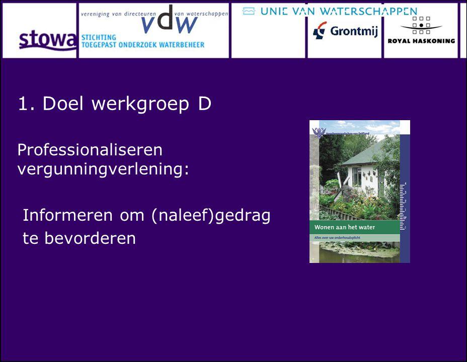 1. Doel werkgroep D Professionaliseren vergunningverlening: Informeren om (naleef)gedrag te bevorderen