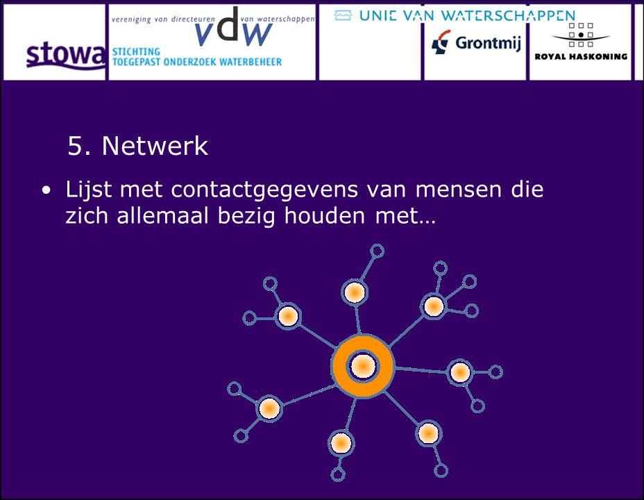5. Netwerk Lijst met contactgegevens van mensen die zich allemaal bezig houden met…