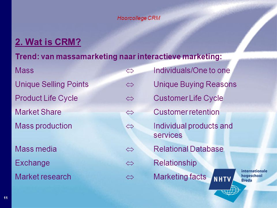 11 Hoorcollege CRM 2. Wat is CRM.