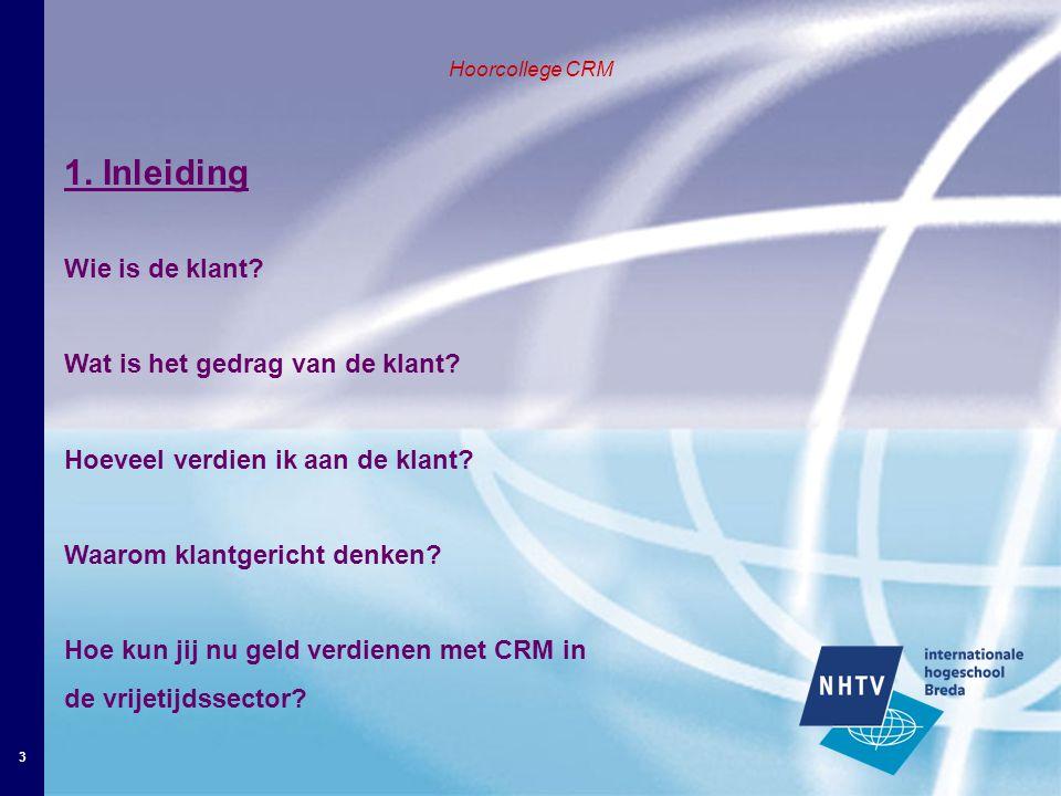 3 Hoorcollege CRM 1. Inleiding Wie is de klant. Wat is het gedrag van de klant.