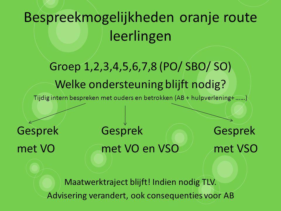 Bespreekmogelijkheden oranje route leerlingen Groep 1,2,3,4,5,6,7,8 (PO/ SBO/ SO) Welke ondersteuning blijft nodig? Tijdig intern bespreken met ouders