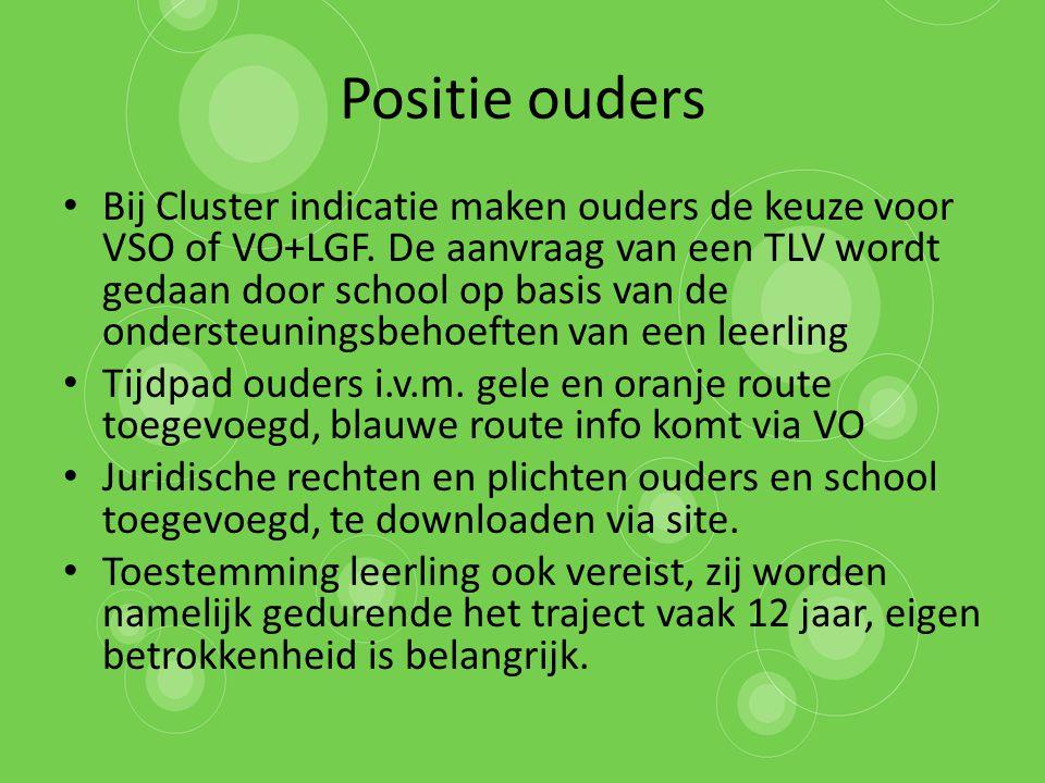 Positie ouders Bij Cluster indicatie maken ouders de keuze voor VSO of VO+LGF. De aanvraag van een TLV wordt gedaan door school op basis van de onders