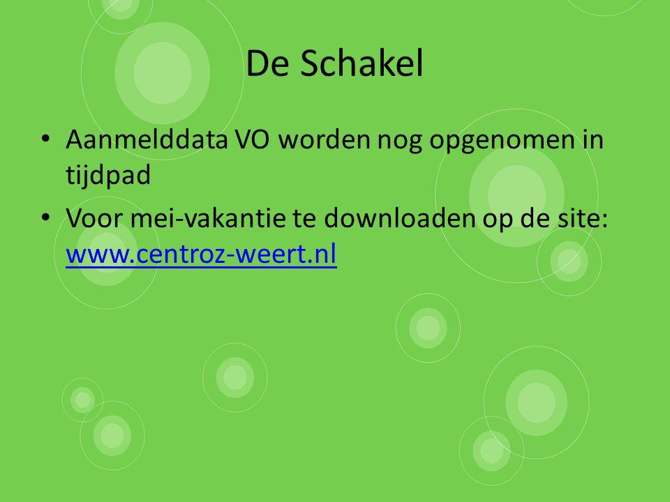 De Schakel Aanmelddata VO worden nog opgenomen in tijdpad Voor mei-vakantie te downloaden op de site: www.centroz-weert.nl www.centroz-weert.nl