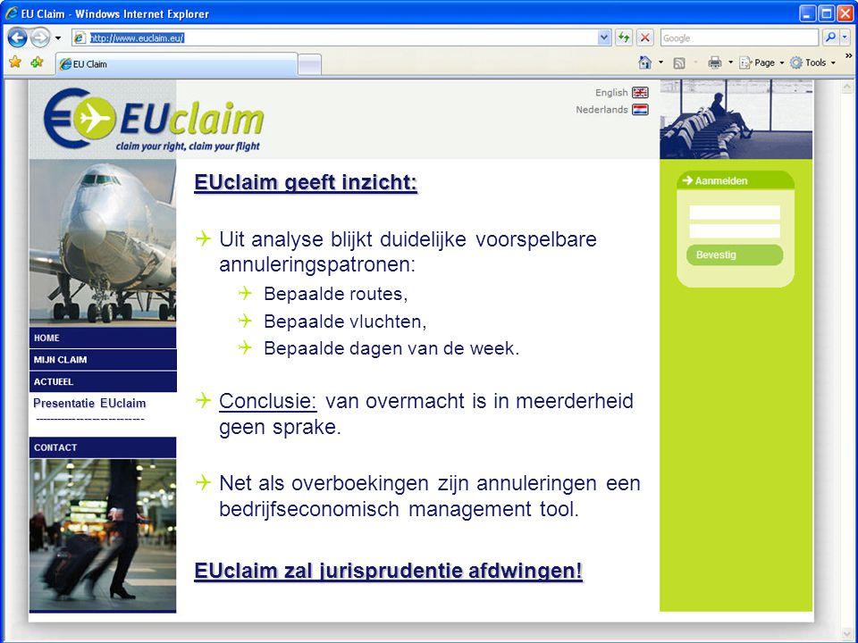 Presentatie EUclaim ---------------------------- EUclaim geeft inzicht:  Uit analyse blijkt duidelijke voorspelbare annuleringspatronen:  Bepaalde routes,  Bepaalde vluchten,  Bepaalde dagen van de week.