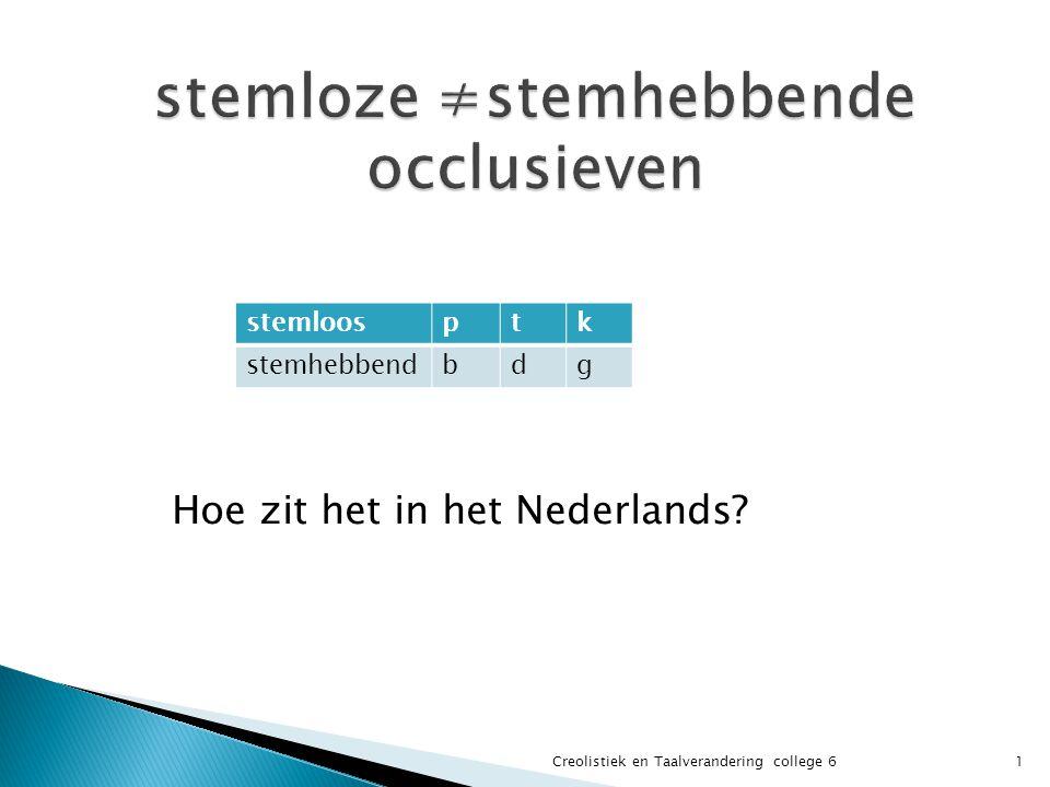 stemloosptk stemhebbendbdg 1Creolistiek en Taalverandering college 6 Hoe zit het in het Nederlands