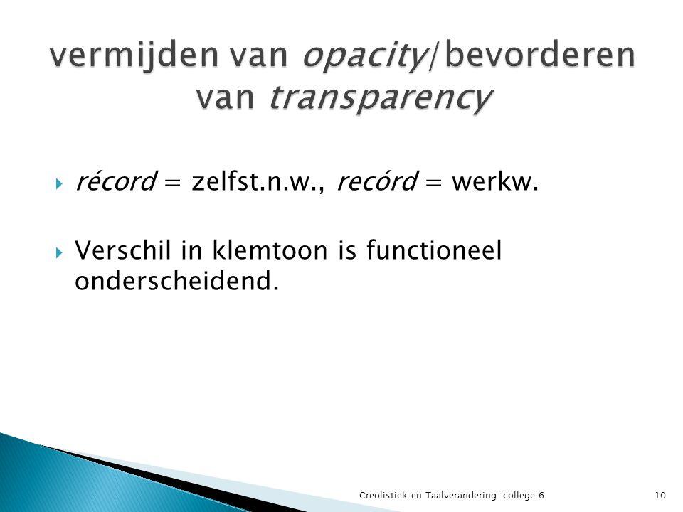  récord = zelfst.n.w., recórd = werkw.  Verschil in klemtoon is functioneel onderscheidend.