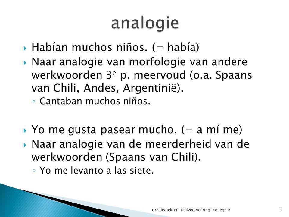  Habían muchos niños. (= había)  Naar analogie van morfologie van andere werkwoorden 3 e p.