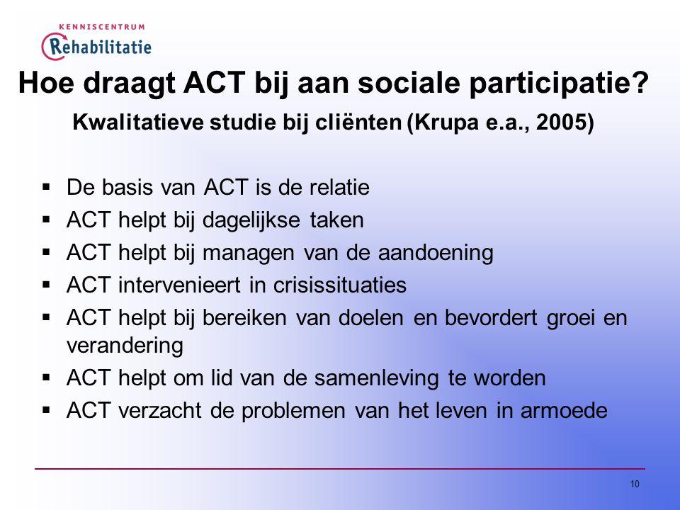 10 Hoe draagt ACT bij aan sociale participatie.