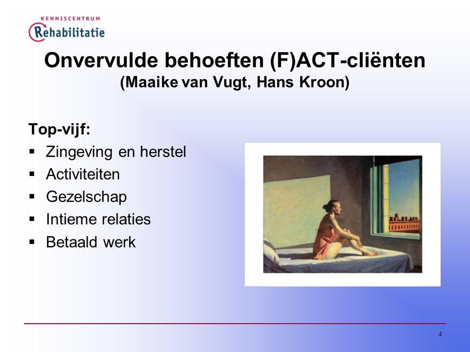 4 Onvervulde behoeften (F)ACT-cliënten (Maaike van Vugt, Hans Kroon) Top-vijf:  Zingeving en herstel  Activiteiten  Gezelschap  Intieme relaties  Betaald werk