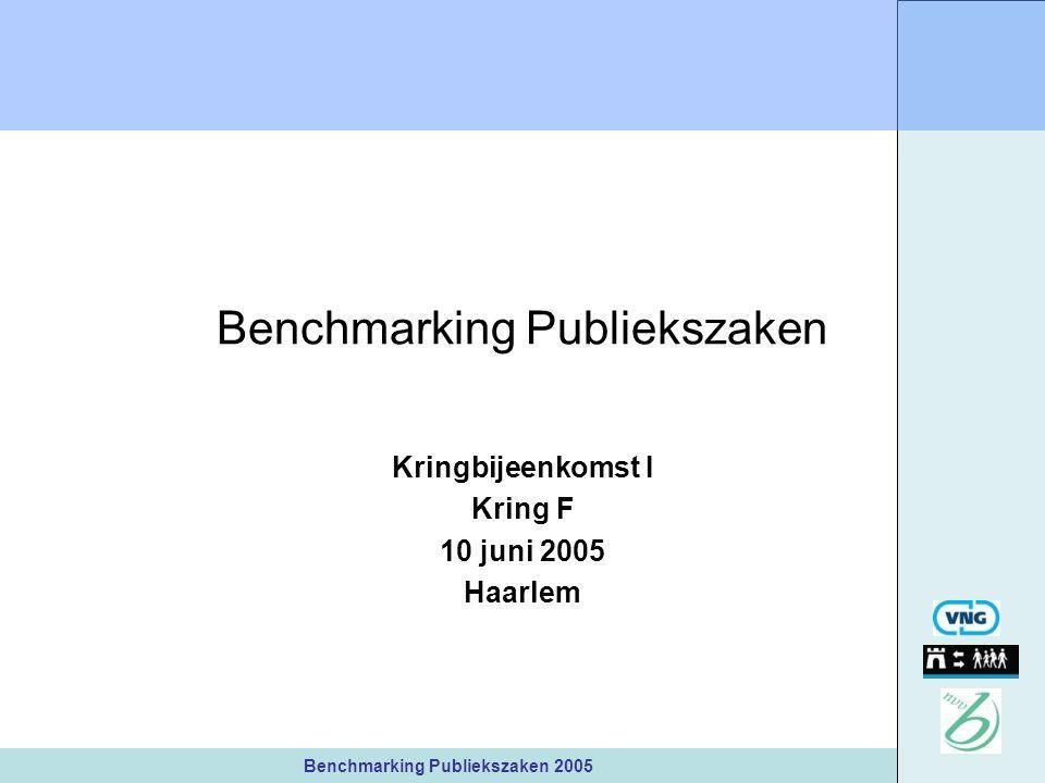 Benchmarking Publiekszaken 2005 Benchmarking Publiekszaken Kringbijeenkomst I Kring F 10 juni 2005 Haarlem