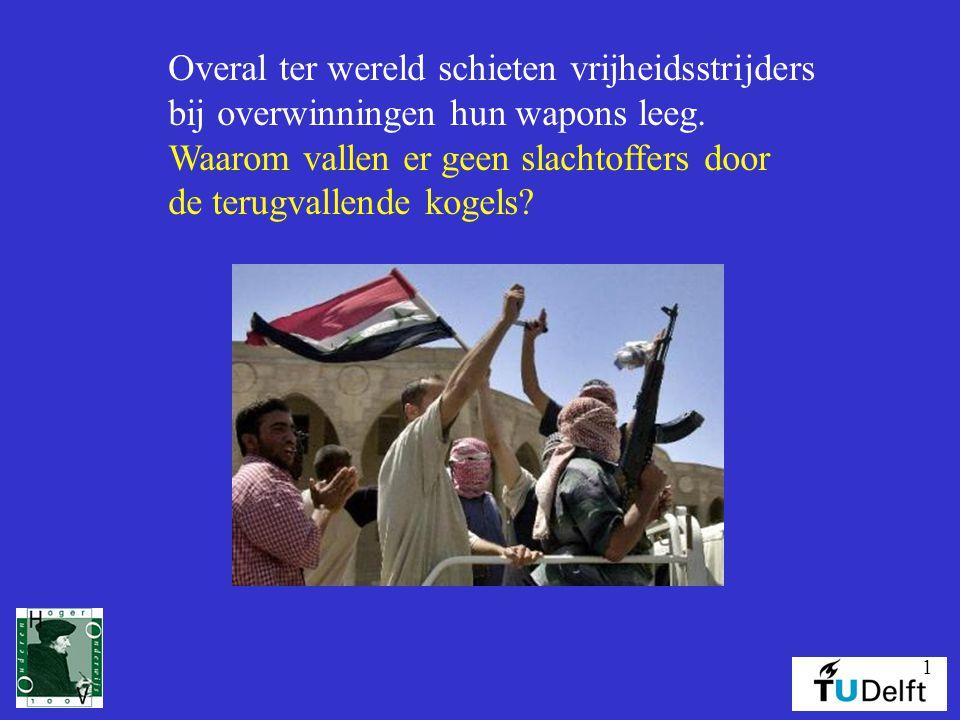 1 Overal ter wereld schieten vrijheidsstrijders bij overwinningen hun wapons leeg. Waarom vallen er geen slachtoffers door de terugvallende kogels?