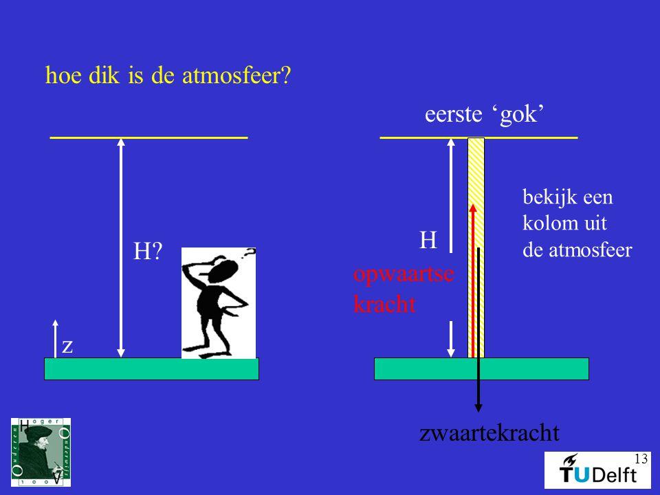 13 hoe dik is de atmosfeer? H? z H eerste 'gok' bekijk een kolom uit de atmosfeer zwaartekracht opwaartse kracht