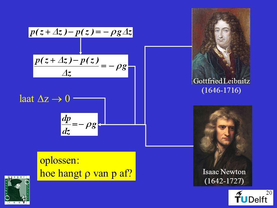 20 Gottfried Leibnitz (1646-1716) Isaac Newton (1642-1727) laat  z  0 oplossen: hoe hangt  van p af?