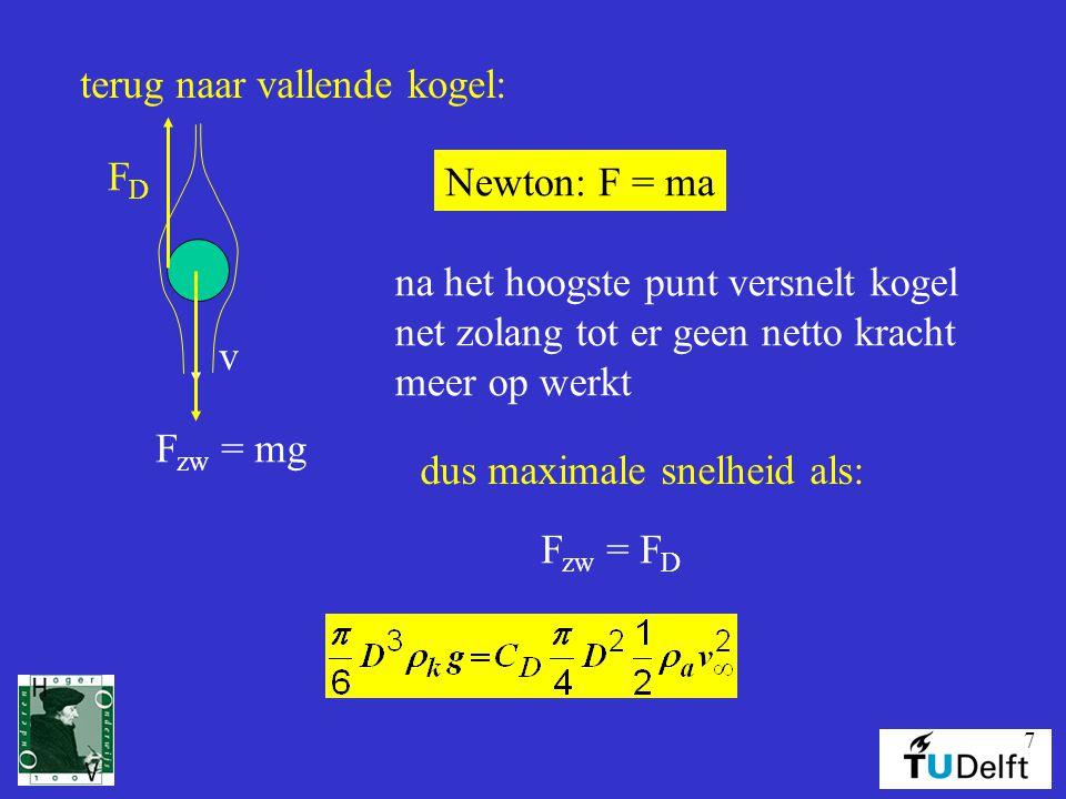 7 terug naar vallende kogel: v F zw = mg FDFD na het hoogste punt versnelt kogel net zolang tot er geen netto kracht meer op werkt Newton: F = ma dus