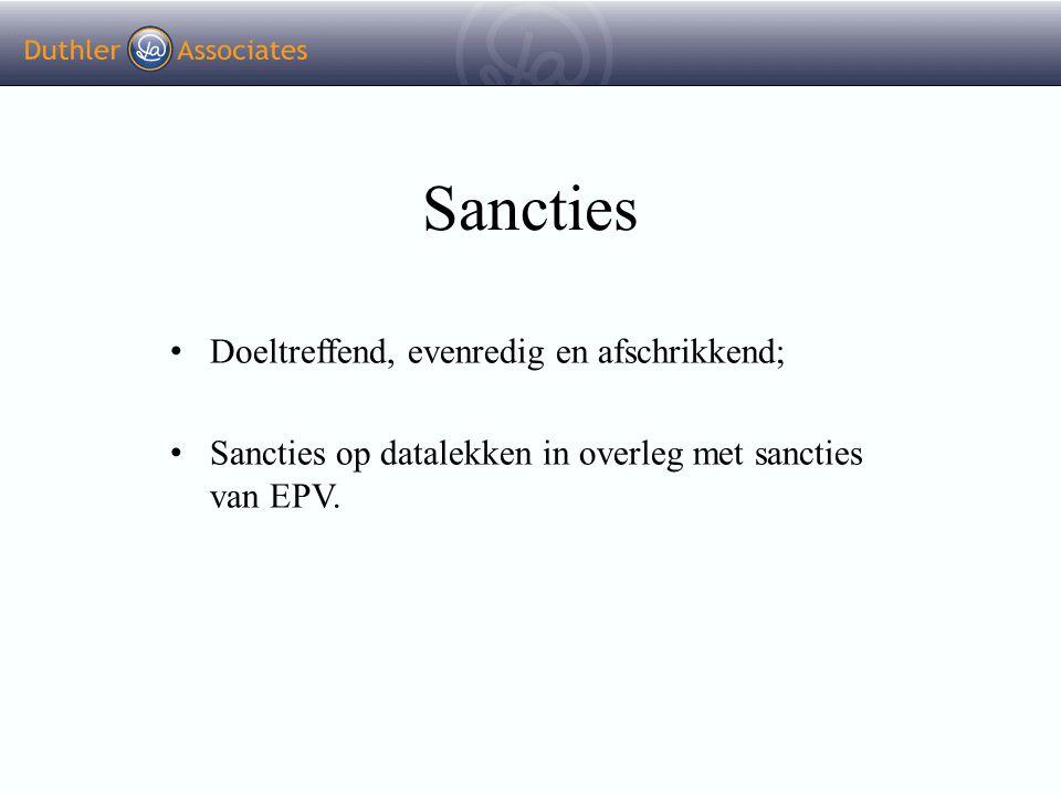 Sancties Doeltreffend, evenredig en afschrikkend; Sancties op datalekken in overleg met sancties van EPV.