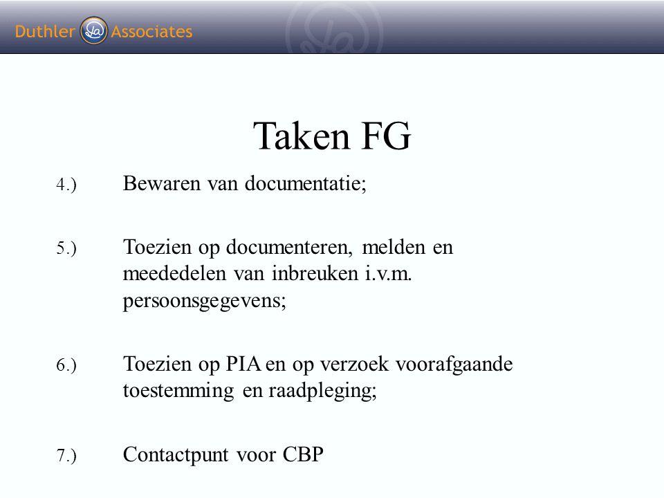Taken FG 4.) Bewaren van documentatie; 5.) Toezien op documenteren, melden en meededelen van inbreuken i.v.m. persoonsgegevens; 6.) Toezien op PIA en
